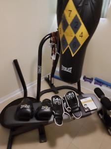 Workout ,Bench, Weights, Punching Bag, Gloves,Shin Pads