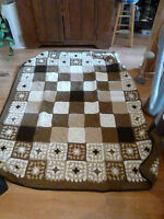 MODERN GRANNY SQUARE AFGHAN - BROWNS AND BEIGES