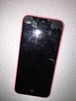 Pink 16GB iPhone 5c (cracked screen)