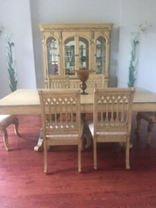 Antique white dining set off-white upholstery