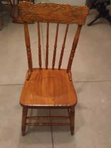4 Antique Oak Pressback Chairs