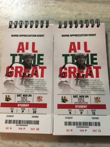 2 Lower Bowl Moosehead tickets for Saturday, November 24th
