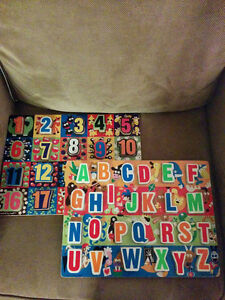 Melissa & Doug Wooden Puzzles - Letters and Numbers