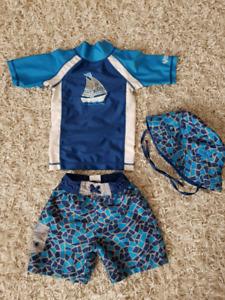 Boys 2T UV Skinz Swimsuit Set  Like New!