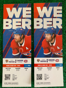 PANTHERS @ HABS - MAR 26 - $105 - CENTRE ICE - FACE VALUE