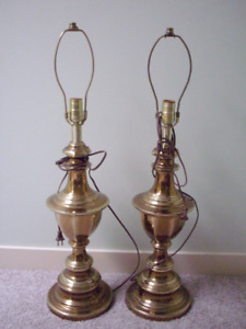 PAIR OF SOLID BRASS LAMPS