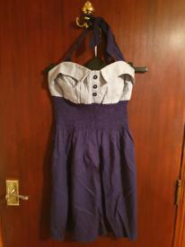 Blue Halterneck Dress New Look Size 8