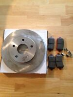 Rear rotors and brake pads with clips