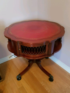 Antique round leather top table