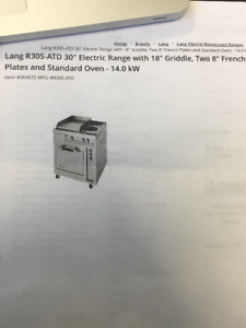 """30"""" commercial electric range with 2 burners, oven and griddle"""