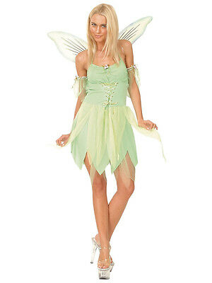 Fairy Tinkerbell Fancy Dress Costume Womens Adult Neverland Green Ladies Adult
