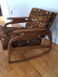 Rare teak vintage rocking chair, Adrian Pearsall styled