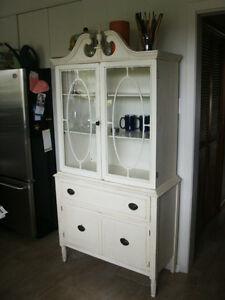 Vintage China Cabinet in Ivory French Country Finish
