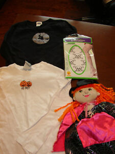 2 size 4-5 Halloween long sleeves, witch doll and nylons