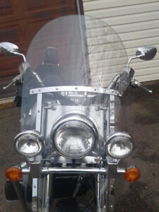 motorcycle windshield and saddlebags
