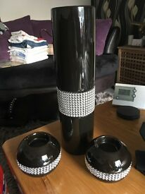 Vase and matching candle or tea light holders for sale