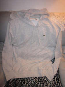 AUTHENTIC MENS LACOSTE LIGHT GREY HOODIE SIZE 7