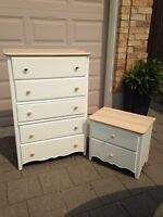 White and wood tall boy dresser and night stand