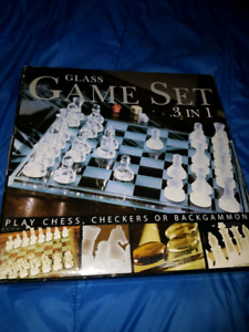 Glass 3 in 1 Game Set - Chess, Checkers & Backgammon