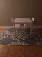 DRAWER, TABLE, CHAIRS, LAMP, CARPET, SIDE TABLE, CURTAIN...