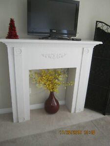Large Snow White Christmas fireplace mantle and posts