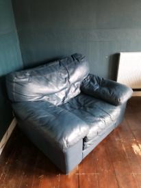 Petrol Blue teal leather armchair