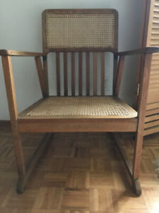 ARTS & CRAFTS SOLID OAK,/ CANE SEAT & BACK, ARM CHAIR