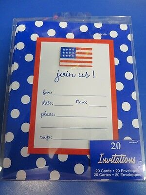 Red White Blue Polka Dot American Flag USA Patriotic July 4th Party Invitations