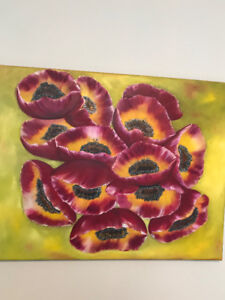 ORIGINAL PAINTING  RED POPPIES FANTASY FLORAL