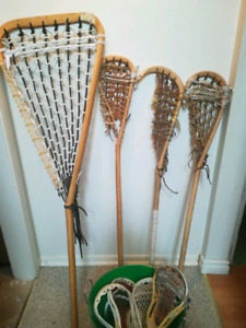 Old hand Crafted Lacrosse Sticks & Extra Heads