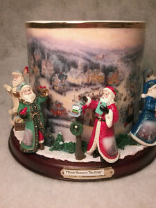 "Thomas Kinkade ""It's Christmas Time"" Candle Holder Centerpiece"