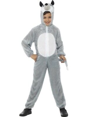White Wolf Costume Kids (Wolf Costume Jumpsuit Outfit Boys Kids Childs World Book Day Week Fancy)