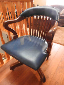 antique vintage oak office chair new leather seat and upper back