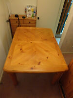 Solid Wood Table & 4 Solid Wood Chair set in Honey Stain