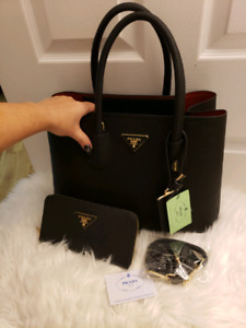 Prada saffiano double cuir bag brand new w/ wallet