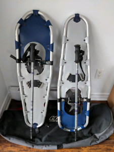 Snowshoes with poles and carry/storage bag