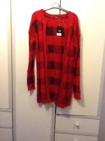 Ladies red fluffy cardigan SZ M £10