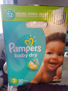 Pampers baby dry diapers size 3, 180ct