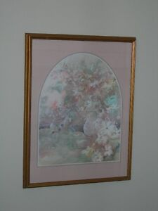 Abstract Floral Picture in gold wooden frame with triple matt. Kitchener / Waterloo Kitchener Area image 2