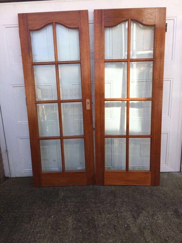 Mahogany glazed french doors 60 o n o in crossgar for Glazed french doors