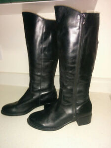 NEW, 'Franco Sarto' Tall Black LEATHER Winter Boots - Size 9