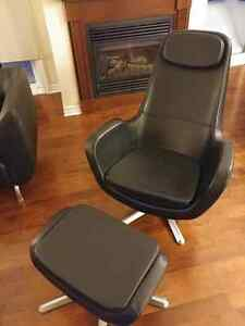 Modern Black Top Grain Leather Chair and Footstool