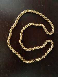 Yellow 14k gold rope chain 46cm made in Italy, perfect condition