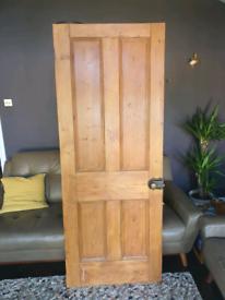 Victorian pine internal door with vintage working lock