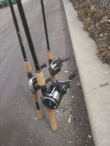 3 Fishing Rods and 3 Reels for Sale