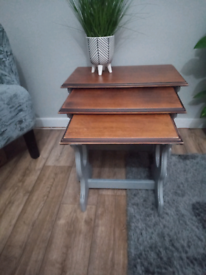 Gorgeous Nest of tables. Grey with wooden tops. Very solid and Heavy.