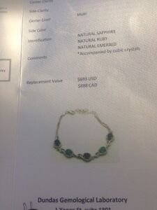 Sterling silver bracelet with genuine emeralds, sapphire & ruby