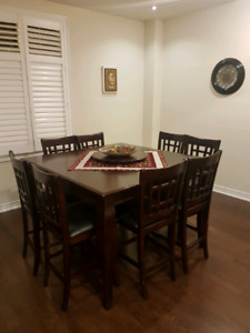 10 Piece Pub Dining Table Set - Excellent Condition