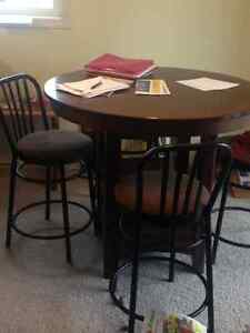 Pub height dining table with 4 chairs Strathcona County Edmonton Area image 1