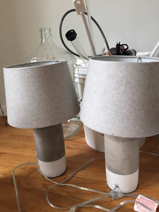 Concrete Table Lamps (Pair)